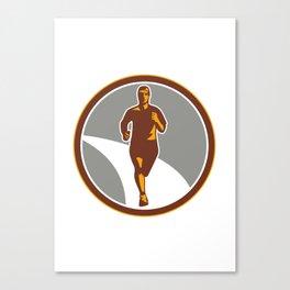 Marathon Runner Front Circle Retro Canvas Print