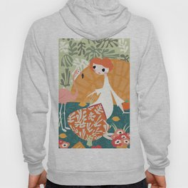 Girl with flamingo and Henri Matisse inspired decoration, vector illustration Hoody