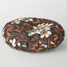 White gothic flowers Floor Pillow