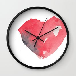 Red Watercolor Heart - Texture Wall Clock