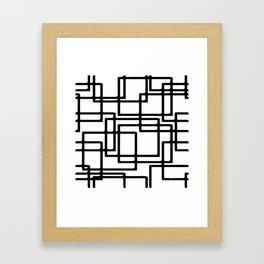 Interlocking Black Squares Artistic Design Framed Art Print
