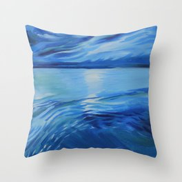 Moonlit Blue Sea Oil Painting Throw Pillow