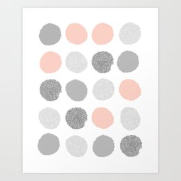 abstract painted dots millennium pink and grey penelope colorway Art Print