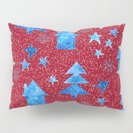 Vibrant red blue teal winter falling snow trees stars and houses pattern Pillow Sham