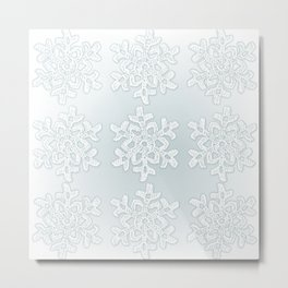 Crocheted Snowflake Ornaments on teal mist Metal Print