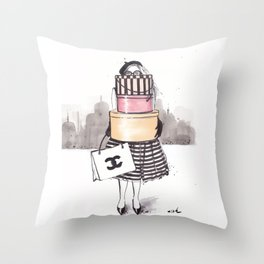 Shopping Junkie Throw Pillow