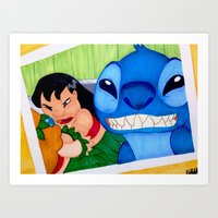 lilo and stitch Art Prints featuring Lilo & Stitch Selfie by Olivia Iman