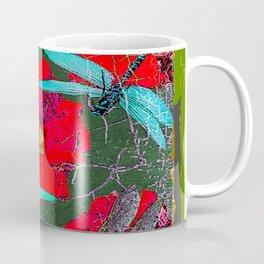 ANTIQUE CRACKLED  BLUE DRAGONFLIES ON RED HOLLYHOCK FLOWERS Coffee Mug