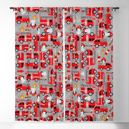 Kids Firetruck Dalmatian Dog Firefighter Pattern Gray Blackout Curtain