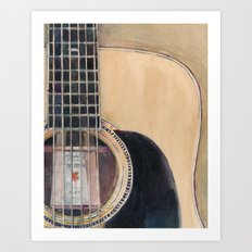 Martin Acoustic Guitar  SSC-D35-14 - from Canada - Watercolor Art Print Art Print