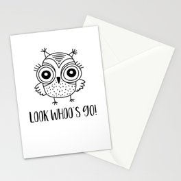 Womens 90th Birthday Gift Look Whoos 90 Funny Owl T-Shirt Stationery Cards