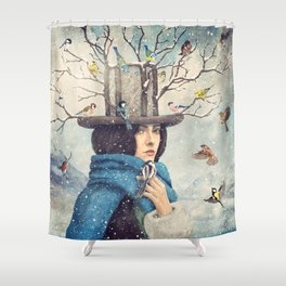 The Lady With The Bird Feeder Hat Shower Curtain