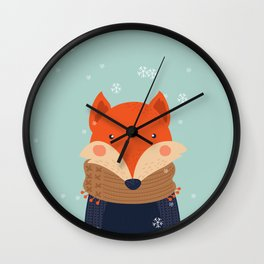 Fox Under Snow in the Christmas Time. Wall Clock