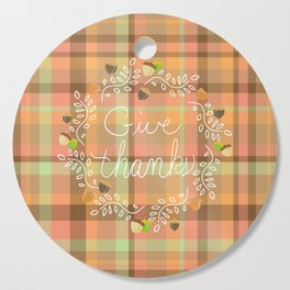 Give Thanks - Autumn Plaid Cutting Board