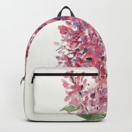 Pink Lilacs Floral Watercolor Garden Flower Nature Art Backpack