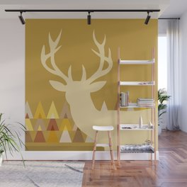 Deer Head Geometric Triangles | mustard yellow taupe Wall Mural