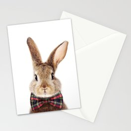 Baby Rabbit, Brown Bunny With Bow Tie, Baby Animals Art Print By Synplus Stationery Cards