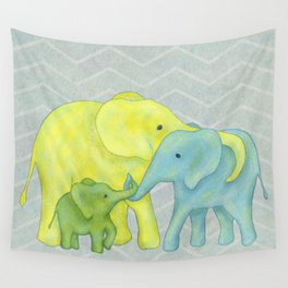 Elephant Family of Three in Yellow, Blue and Green Wall Tapestry