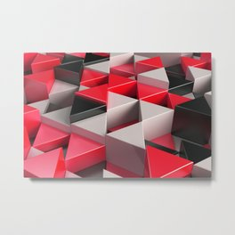 Pattern of black, white and red triangle prisms Metal Print