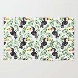 Watercolor green black yellow toucan bird floral Rug
