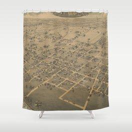 Vintage Pictorial Map of La Grange TX (1880) Shower Curtain