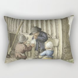 Three children playing with a pig bladder by Jean Bernard (1775-1883) Rectangular Pillow