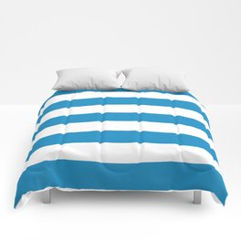 Cyan cornflower blue - solid color - white stripes pattern Comforters