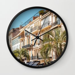 Cannes City Panoramic View, Cote D'Azur, French Riviera, Exotic Architecture, Historic Houses, Downtown City Of Cannes, France Modern City Wall Clock