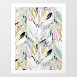Pastel Shimmer Feather Leaves on Gray Art Print
