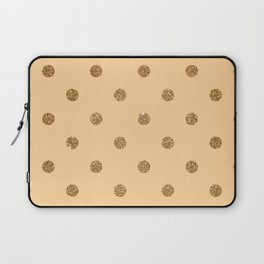 Burly Wood1 Gold Glitter Dot Pattern Laptop Sleeve