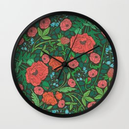 Scarlet poppies with clover and bluebells Wall Clock