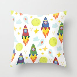 Rocket Ships Throw Pillow