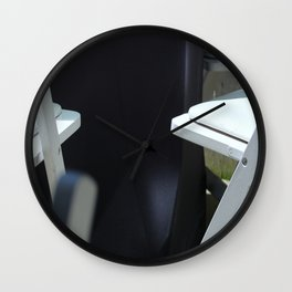 Four White Wooden Chairs... Wall Clock