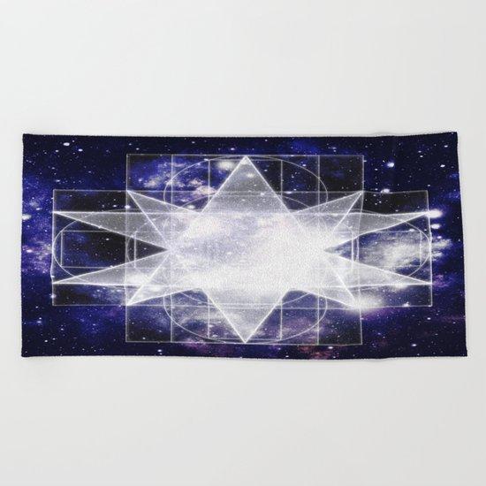 Sacred Geometry : Dark Blue Galaxy Beach Towel