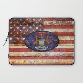 Michigan and USA flag on old wooden planks. Laptop Sleeve