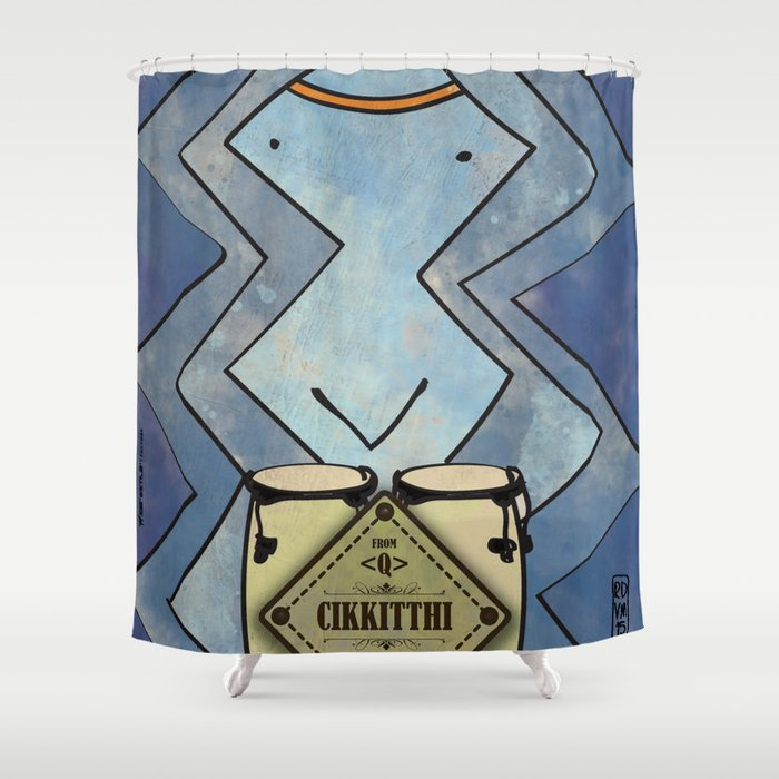 Cikkitthi from < Q > (Congas) Shower Curtain