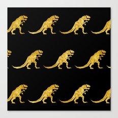Golden T.Rex Pattern Canvas Print