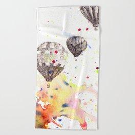 Hot Air Balloons Painting Beach Towel