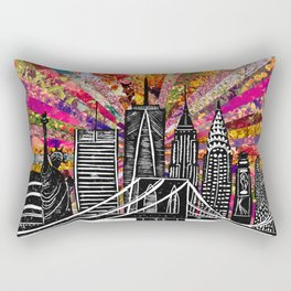 Linocut New York Blooming Rectangular Pillow