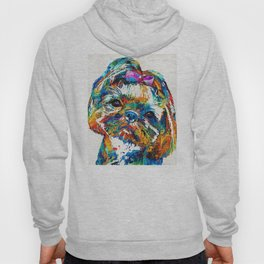 Colorful Shih Tzu Dog Art By Sharon Cummings Hoody