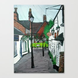 Little Church Lane Cafes, Tamworth, Staffordshire, England, Acrylics On Canvas Canvas Print
