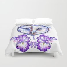 Owl and Irises Duvet Cover