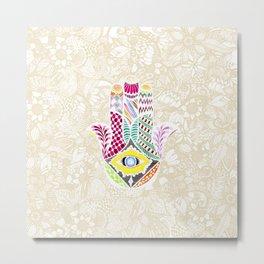 Artistic Hand Drawn Hamsa Hand an Floral Drawings Metal Print