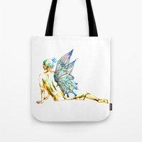 tinker bell Tote Bags featuring Tinker Bell with one wing by Chien-Yu Peng