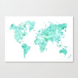 Teal aquamarine watercolor world map Canvas Print