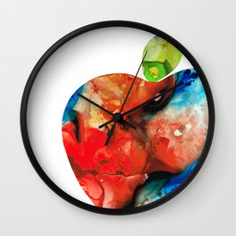 An Apple A Day - Colorful Fruit Art By Sharon Cummings Wall Clock