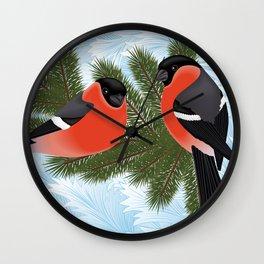 Bullfinch birds on fir tree branches Wall Clock