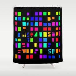 Rainbow Pixel in darck Shower Curtain