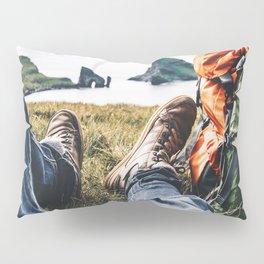 backpacker resting at faroe Pillow Sham