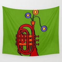 trumpet Wall Tapestries featuring Happy to see my pocket trumpet by Megs stuff